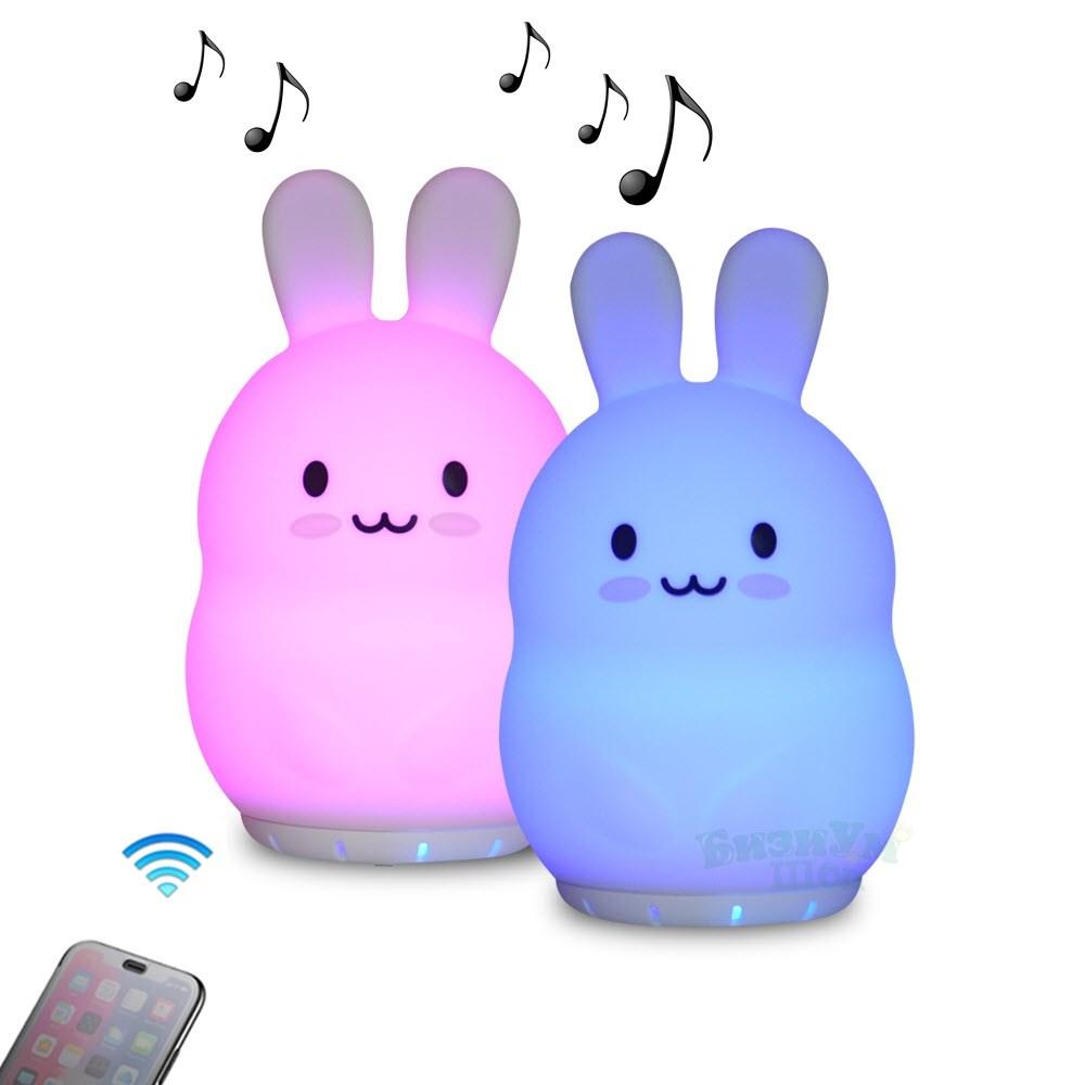 Ночник беспроводной силиконовый с Bluetooth колонкой Зайчик - фото 5314