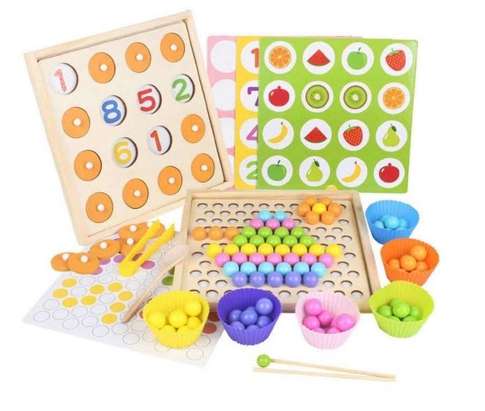 Мозаика сортер с цветными шариками и мемори 2 в 1 - фото 6107