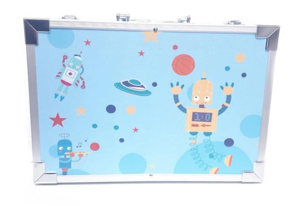 Набор художника в металлическом чемодане голубой - фото 6163