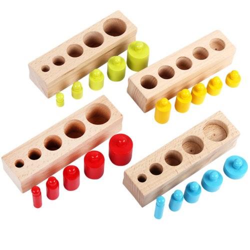 """Развивающая игра """"Цветные деревянные цилиндры Монтессори"""" - фото 6176"""