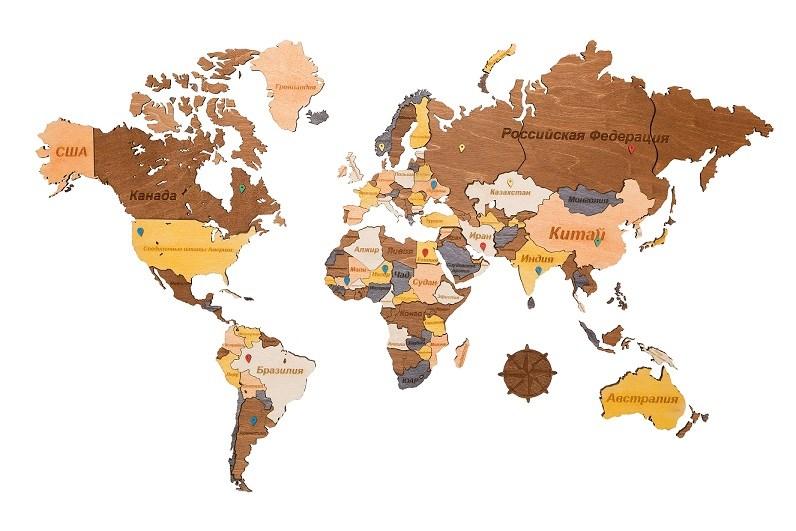 Деревянная карта мира 130*78 - фото 6178