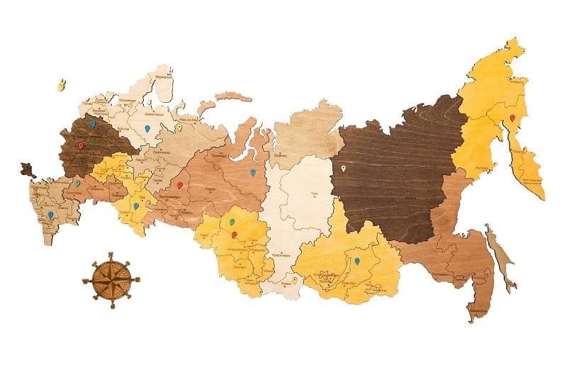 Деревянная карта России 75*45 - фото 6183