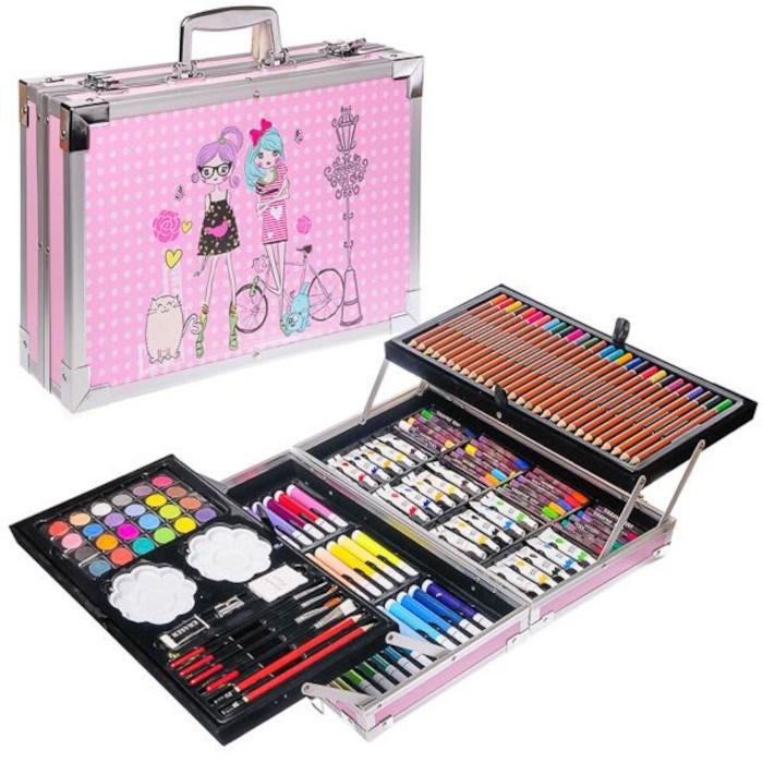 Набор художника в металлическом чемодане розовый - фото 6200