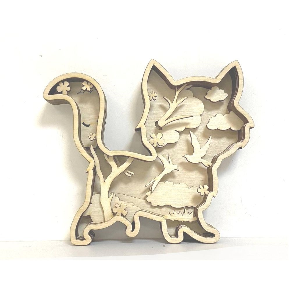 Деревянная 3D раскраска Котик - фото 6291