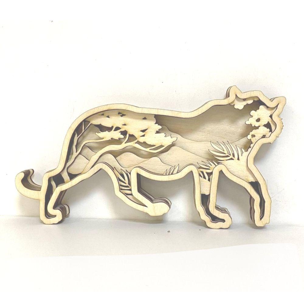 Деревянная 3D раскраска Пантера - фото 6294