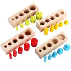 """Развивающая игра """"Цветные деревянные цилиндры Монтессори"""""""