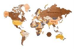 Деревянная карта мира 130*78